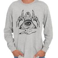 Illuminati Shirt   Eye of Providence All Seeing Mystical Hand Long Sleeve Tee