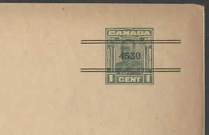 Canada KGV KING GEORGE V 1c green PPTO envelope with 4530 precancel