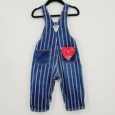 New listing Osh Kosh B'Gosh Vtg Striped Denim Bib Overalls Sz 24M Handkerchief Pocket Rare