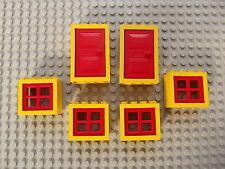 LEGO ROSSO & Giallo Windows 2 porte 4 finestre IDEALE CASA UFFICIO di Building Set 01