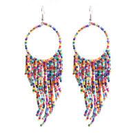 Women Fashion Retro Bohemian Ethnic Wind Long Style Rice Beads Fringed Earrings
