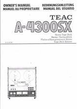 TEAC manuale di istruzioni user manual Owners Manual per a - 4300 SX