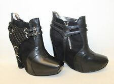 BNIB SAM EDELMAN Black Leather & Suede Extra High Wedge Heel Ankle Boots UK6 US8