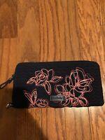 NWOT Vera Bradley Navy Pink Floral Wristlet Wallet Clutch,Quilted TRIMMED Gift