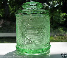 "Tiara Indiana Glass Chantilly Green Sandwich 7 1/2"" Medium Canister Biscuit Jar"