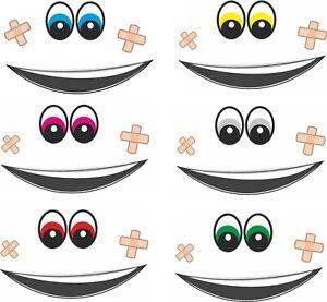 Mund Augen Pflaster Aufkleber lustige Sticker für Mähroboter Roboter Saugroboter