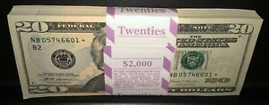 (1) Twenty Dollar * Star * Note NEW $20 Crisp Bill From BEP Strap Uncirculated