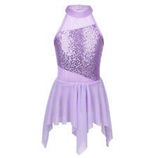 Girls Sequin Ballet Dance Dress Leotard Tutu Dress Gymnastics Party Dancewear
