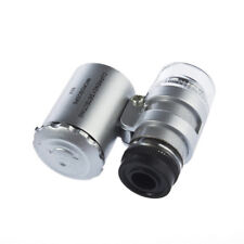 60X Pocket Magnifier Microscope Jewelry Loupe Glass LED UV Currency Light