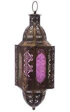 Marokkanische Laterne gebürstetes Metall 60 cm Windlicht Glas Orientalisch