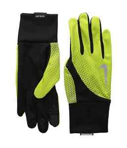 $78 Nike Men'S Dri-Fit Black Yellow Touchscreen Athletic Tailwind Gloves Size S