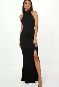 boohoo high neck maxi dress UK 10 women's black open back ladies party
