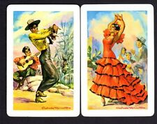 Vintage Swap/Playing Cards - Spanish Dancers signed Pair