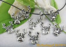 40pcs Tibetan silver deer head charms FC9122