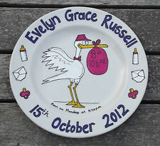 Hand Painted Personalised Baby Birth Gift Plate Stork Design