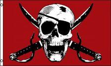 Crimson Pirate Skull & Crossed Swords Flag 3x5 ft Jolly Roger Red Eyepatch Sword
