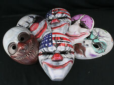 Lot of 6 Payday 2 E3 Promo Masks w/Scary Evil Clown Faces