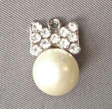 Silver Platinum Crystal Rhinestone Pearl Hair Bow Charm 16.5x11x11mm Q8 66493