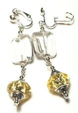 Long Drop Dangle Silver Yellow Clip On Earrings Glass Beads