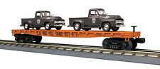 30-76671 Long Island Flat Car w/(2) '53 Ford Pickup Trucks - MTH