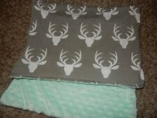 30x30 Deer head Antlers Minky Dot Velour Jersey Cotton Crib Baby Blanket Lovey