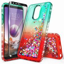For LG Stylo 4 / Stylo 4 Plus Case Liquid Glitter Bling Cover + Tempered Glass
