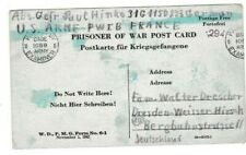 WW2 1945 GERMANY POW POSTCARD USA INTERNMENT POW CAMP IN FRANCE TO GERMANY