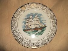 """VINTAGE HIGHLY GILDED RIM DISPLAY PLATE MACKAY'S CLIPPER 1851 SAILING SHIP 9"""""""