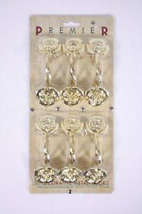 Shower Curtain Hooks Set 12 Vtg Premier Rose Flower Gold