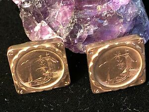 Vantage 14 ^ Rose Gold 19 mm Square Hand Etched Clip on Earrings  6 g