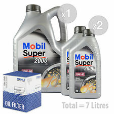 Engine Oil and Filter Service Kit 7 LITRES Mobil Super 2000 X1 10w-40 7L