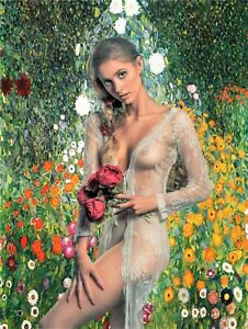 Lovely Semi-Nude With Klimt Background 18X24 Poster