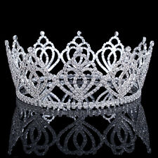 Silver Clear Crystal Tiara Crown Pageant Prom Party Rhinestone Hair Accessory
