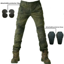 Men Motorcycle Jeans Combat Pants Denim Biker Army Green Moto Trousers With Pads