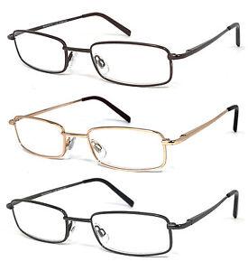1 or 3 Pair Rectangular Metal Frame Full Lens Reading Glasses Power Up to +6.00