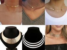 Ladies Womens Silver Gold Charm Star Heart Pendant Choker Necklace Punk Rock UK