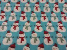 Christmas Snowmen on blue half metre free p&p, 100% cotton.