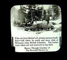 rare Magic Lantern Slide Britannia Mine Disaster British Columbia Canada 1915