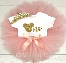 Luxury Baby Girls Cake Smash Outfit 1st Birthday Vest Set Tutu Skirt Minnie Gold