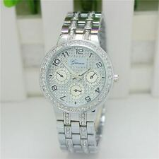 Geneva Ladies Designer Wrist Watch With Silver Rhinestone  Bracelet