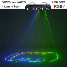 4 Lens Red Green Blue Yellow Beam Laser DMX Scanner Lights PRO DJ Stage Lighting