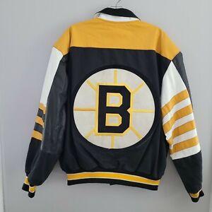 Vintage 90s Jeff Hamilton JH NHL Boston Bruins Leather Bomber Varsity Jacket L