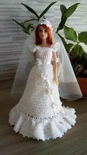 Vestiti barbie da sposa + cappello + cuffia con velo + sottogonna in tulle