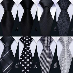 Silk Mens Ties Black Grey White Plain Paisley Skull Necktie Hanky Cufflinks Set