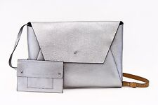 NWT $2295 Brunello Cucinelli Metallic Leather Envelope Bag + Clutch W/Pouch A176