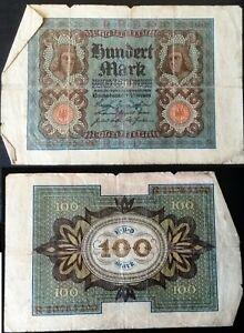 German Hundred Mark Note Weimar Republic 1920 Reichsbanknote 100 Year Old Money