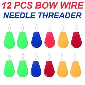 12 x Needle Threader Simple Needle Threading Hand or Machine Threading Set of 12