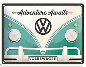 Volkswagen VW Camper Adventure Awaits   embossed metal sign 200mm x 150mm  (na)