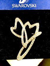 NWT DAZZLING SWAROVSKI SWAN CRYSTAL RHINESTONE CHERISH DOUBLE HEART BROOCH