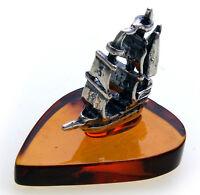 Schiff echt Bernstein echt Silber 925 Segelschiff Boot Handarbeit Sterlingsilber